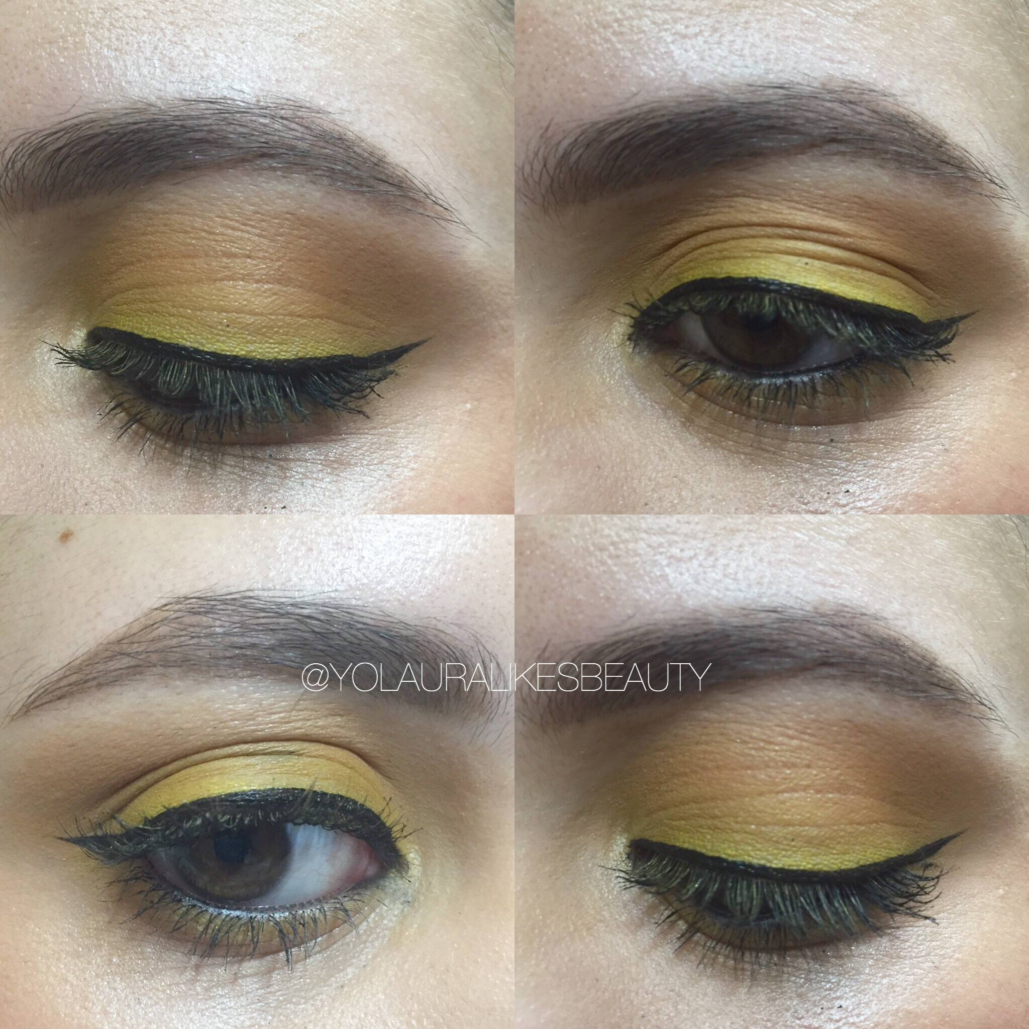 Pop of Yellow + Neutral Lips Makeup Look